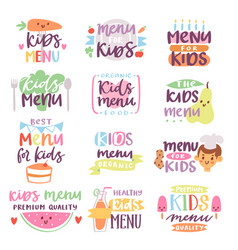 Kids menu sign lettering vector