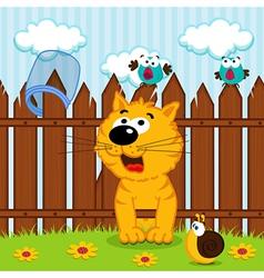 Kitten passes through the wooden fence vector