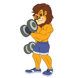 Lion with dumbbells 2 vector