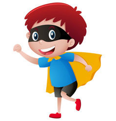 Little boy wearing mask and cape vector
