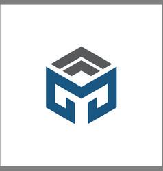 M hexagon logo abstract vector