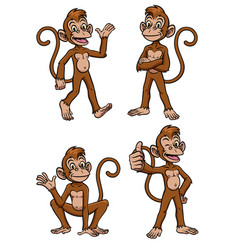 monkey cartoon set vector image
