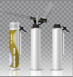 mounting foam packaging tube mock up set vector image