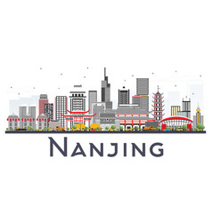 Nanjing china skyline with gray buildings vector