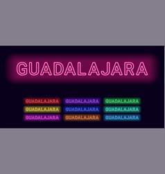 Neon name of guadalajara city vector