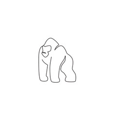 one continuous line drawing gorilla vector image