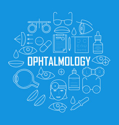 Ophthalmology concept with thin line icons vector