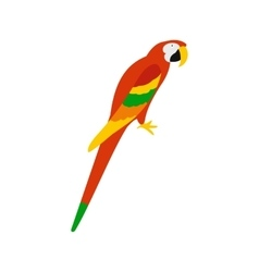 Orange brazil parrot icon flat style vector