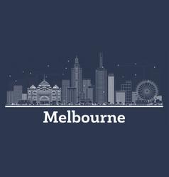 Outline melbourne australia city skyline vector