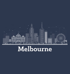 outline melbourne australia city skyline with vector image