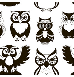 Pattern of owls vector