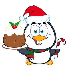 Penguin character holding christmas pudding vector