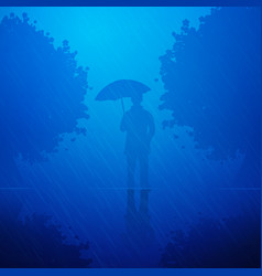person in the rain vector image