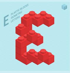 plastic blocs letter e vector image