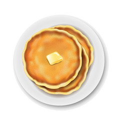 Plate with pancake isolated white background vector