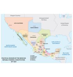political division mexican republic 1824 vector image
