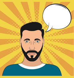pop art male portrait with blank speech bubble vector image