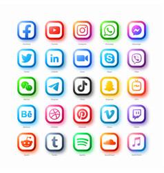 Popular social media network web icons set vector