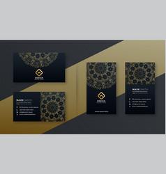 Premium luxury business card dark design template vector