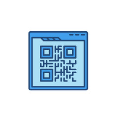 Qr code and web browser concept colored vector