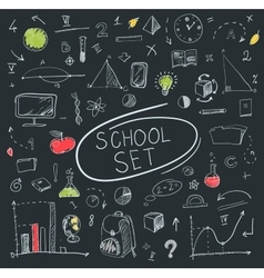 school big set on blackboard vector image