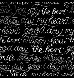 seamless pattern with hand-lettering words smile vector image