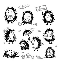 set cute hedgehog vector image