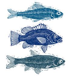 Set fishes different underwater species vector