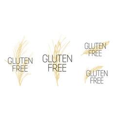 Set gluten free symbol with wheat vector