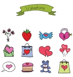 Set of valentine day object icons vector