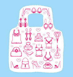 Shopping emblem the bag shape vector