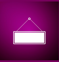 signboard icon on purple background hanging sign vector image