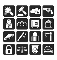 Silhouette Police and Crime icons vector image