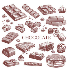 Sketch chocolate engraving black chocolate bars vector
