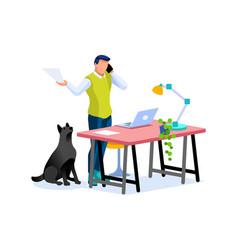 Smart boy works home concept vector