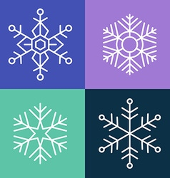 Snowflake line style set vector image