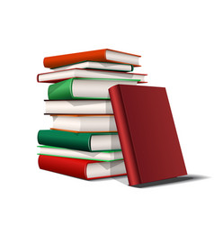 stack red and green books books various colors vector image