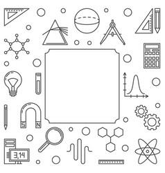 Stem education simple square frame outline vector