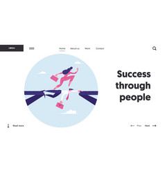 Strongest will survive website landing page vector