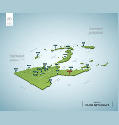 stylized map papua new guinea isometric 3d vector image