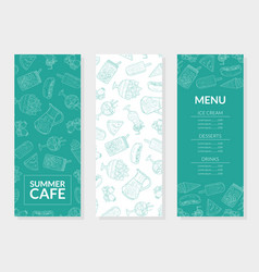 summer food menu template main dishes ice cream vector image