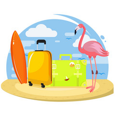 summer set famingo suitcases surfboard vector image