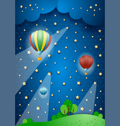 Surreal landscape by night with hot air balloons vector