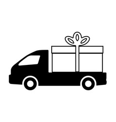 the truck is carrying a gift vector image