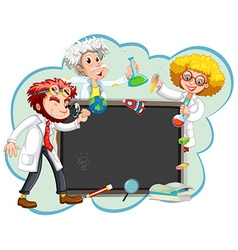 Three scientists by the board vector image