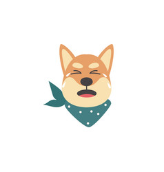 unhappy and upset shiba inu dog crying emotions vector image