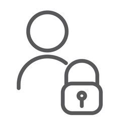 User unlocked line icon privacy and safety vector