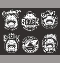 Vintage monochrome surfing club emblems vector