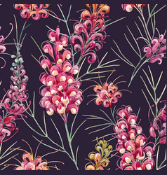Watercolor grevillea pattern vector