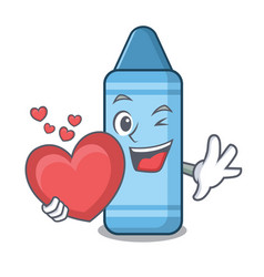 with heart blue crayon in character shape vector image